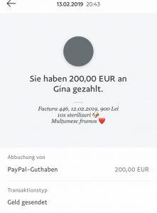 Faltbuch-Überweisung 200 Euro an die Tierschützerin